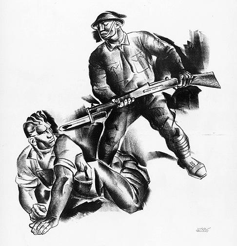 раненый забастовщик и солдат. великая депрессия