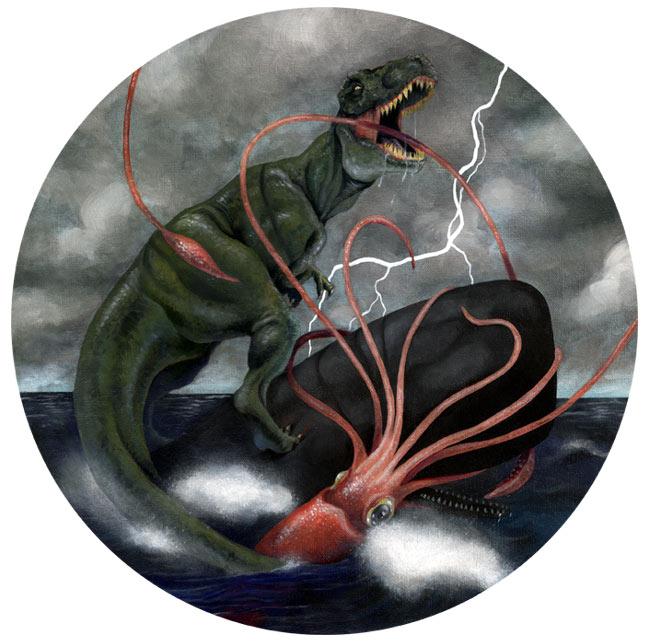 бой тиранозавра кашалота и кальмара