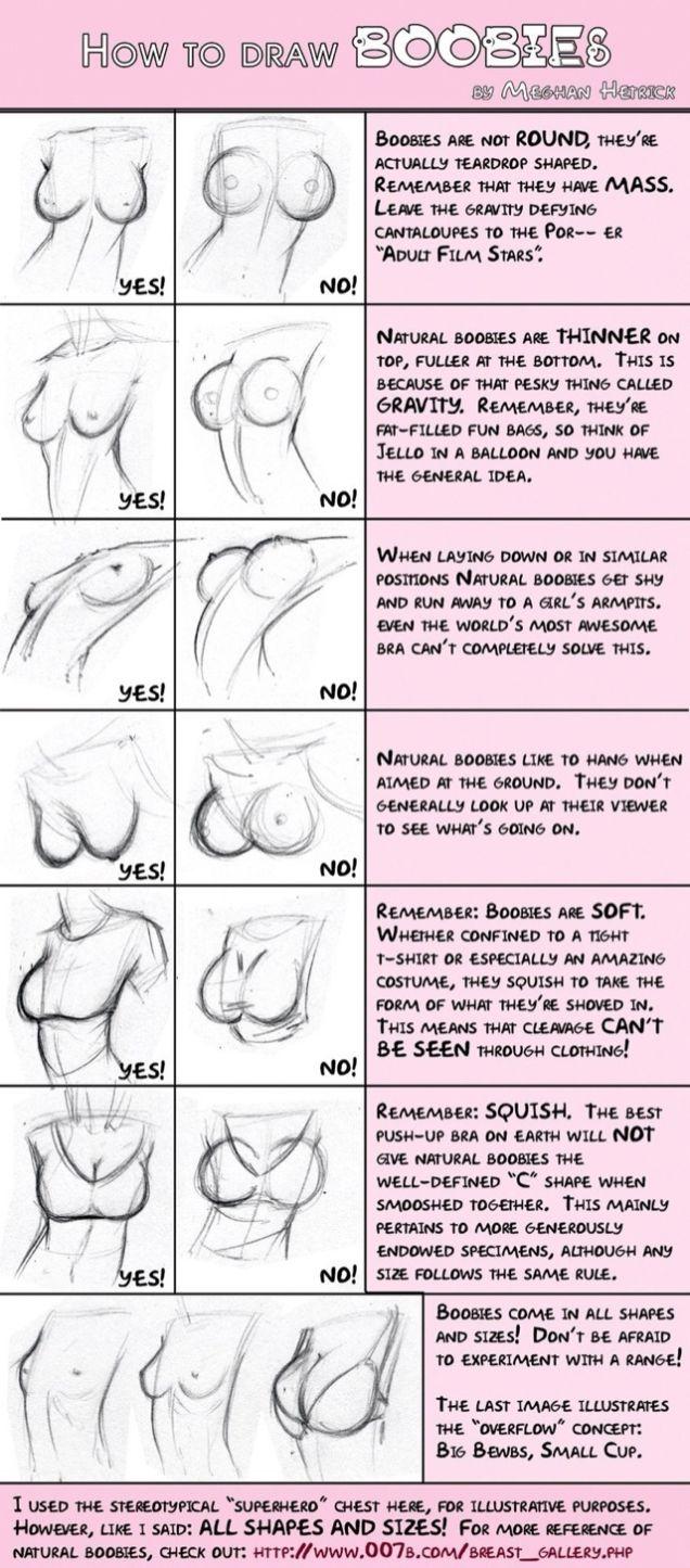 как рисовать женскую грудь