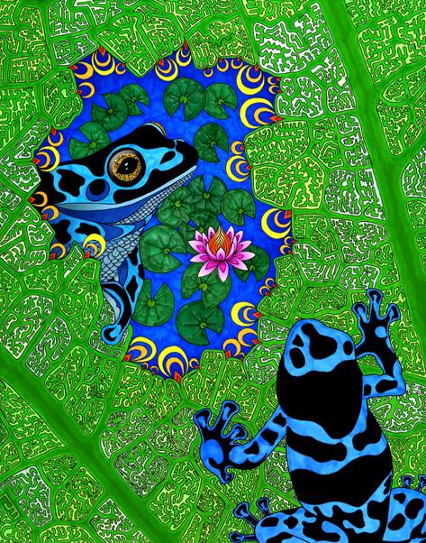 пруд с лягушками
