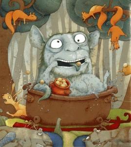 Иллюстрация к сказке Гинтараса Береснявичюса Семейство кауков
