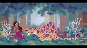 Clio Chiang  рисунок девушка и тигр