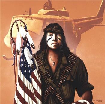 индеец с американским флагом