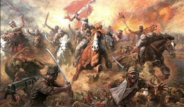 китайская батальная живопись кавалерийская атака