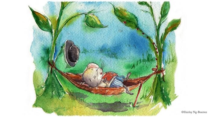 мышка спит в гамаке