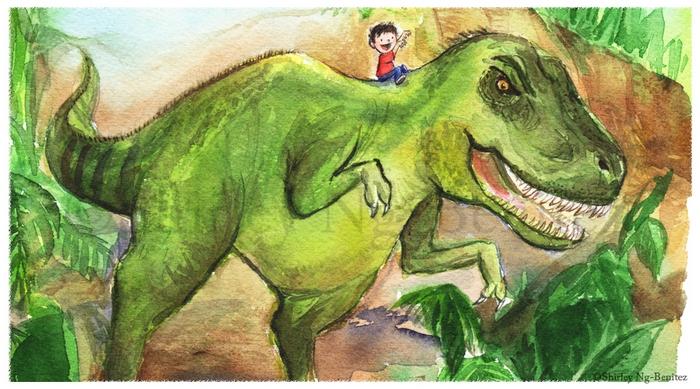 мальчик верхом на динозавре