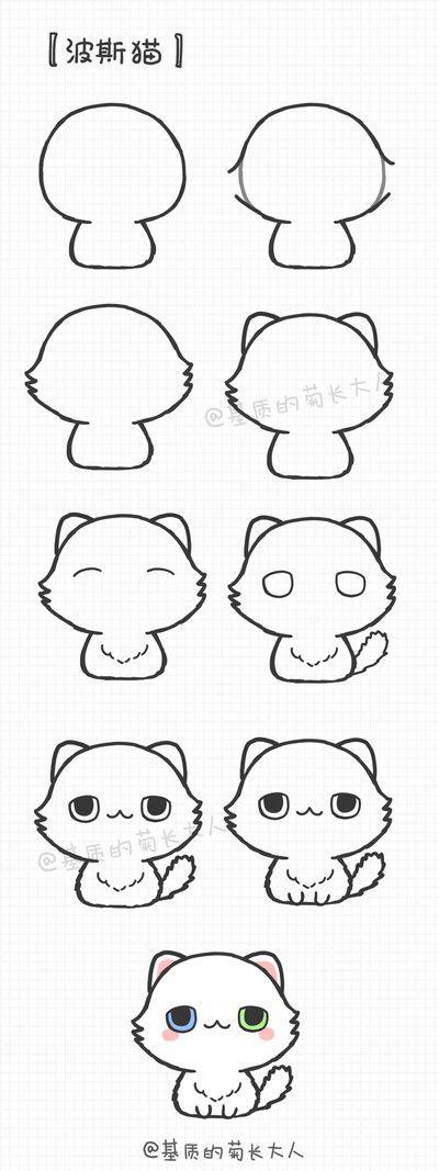 как нарисовать белого кота