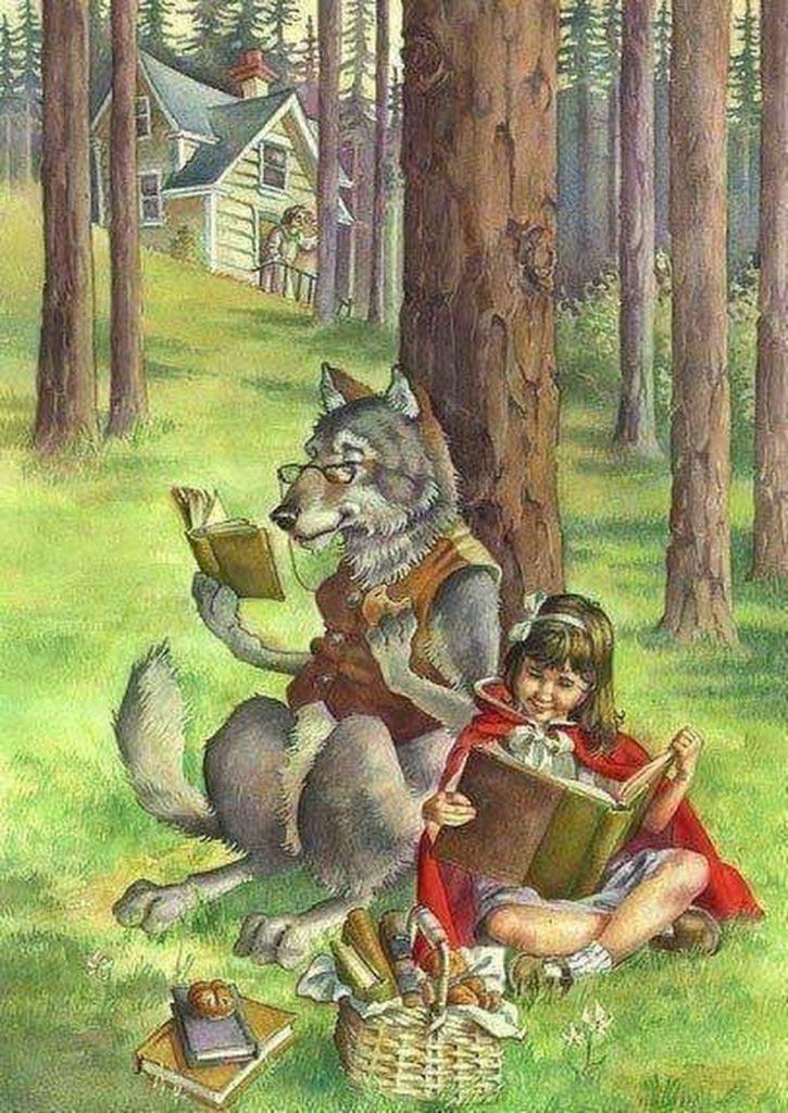 красная шапочка и волк читают