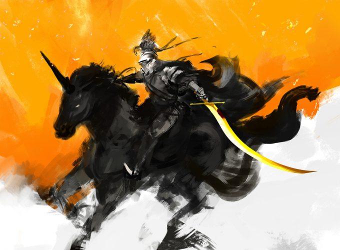 рыцарь верхом на единороге